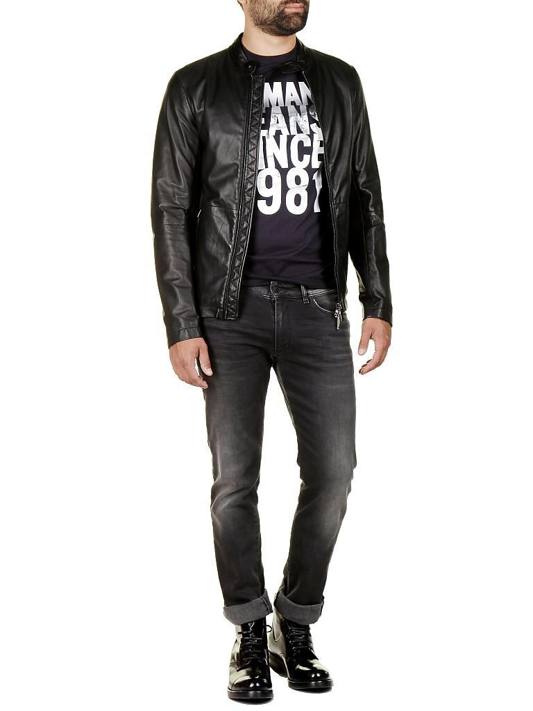 armani jeans lederjacke schwarz 48. Black Bedroom Furniture Sets. Home Design Ideas