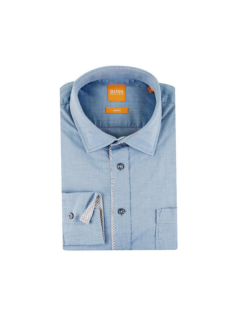 boss orange hemd slim fit eslime blau s. Black Bedroom Furniture Sets. Home Design Ideas