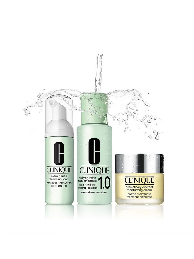CLINIQUE 3-Schritte Pflegesystem - Extra Mild - Extra Gentle Cleansing Foam 45ml / Clarifying Lotion 1.0 100ml / DDMC 30ml