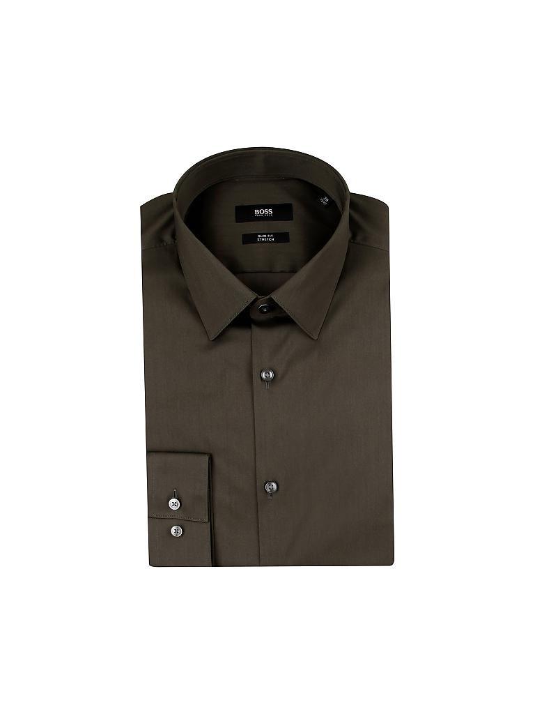 hugo boss hemd slim fit isko olive 37. Black Bedroom Furniture Sets. Home Design Ideas