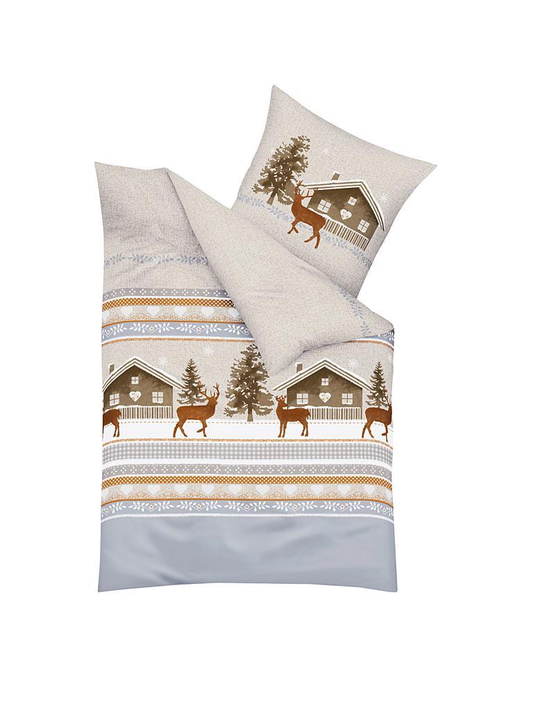 kaeppel flanell bettw sche snow lodge 70x90cm 140x200cm grau. Black Bedroom Furniture Sets. Home Design Ideas