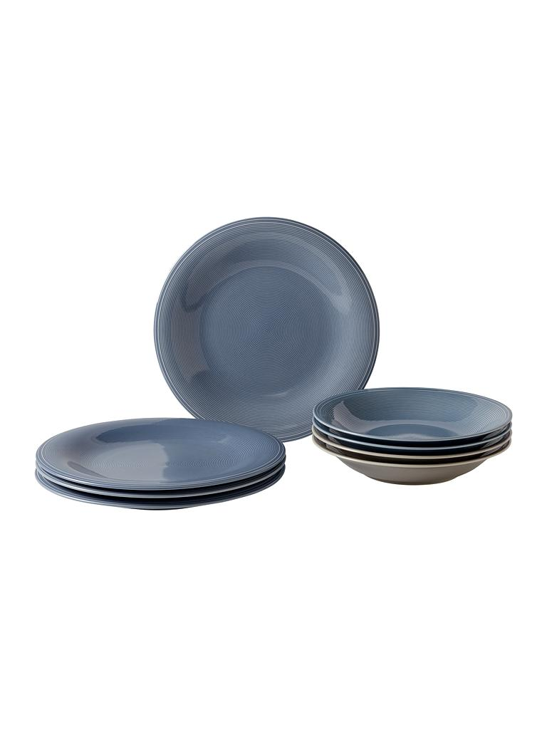 LIKE | Villeroy & Boch Group Color Loop - Speise- & Suppenteller-Set 8-tlg. (Horizon) | blau