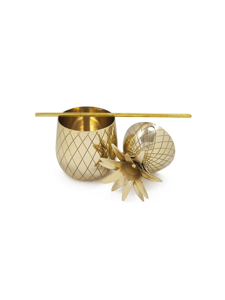 MENS SOCIETY | Large Brass Pineapple  | gold