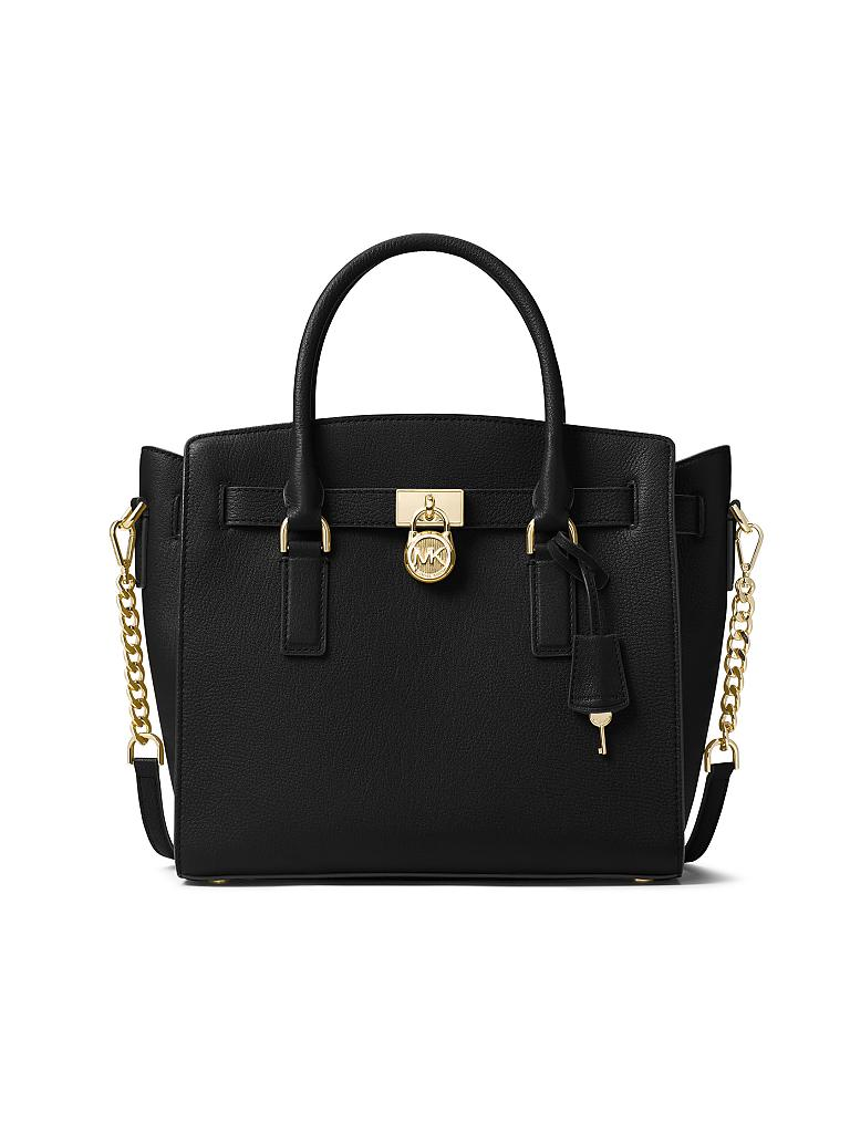 michael kors ledertasche hamilton lg ew satchel schwarz. Black Bedroom Furniture Sets. Home Design Ideas