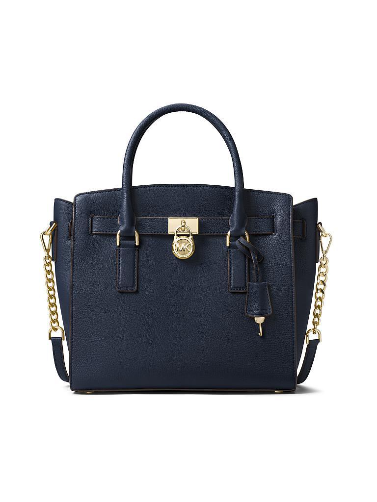 michael kors ledertasche henkeltasche hamilton blau. Black Bedroom Furniture Sets. Home Design Ideas