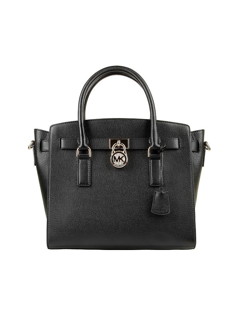michael kors ledertasche henkeltasche hamilton lg ew satchel schwarz. Black Bedroom Furniture Sets. Home Design Ideas