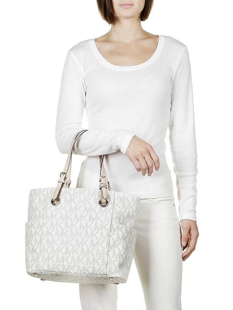 michael kors ledertasche henkeltasche jet set item beige. Black Bedroom Furniture Sets. Home Design Ideas