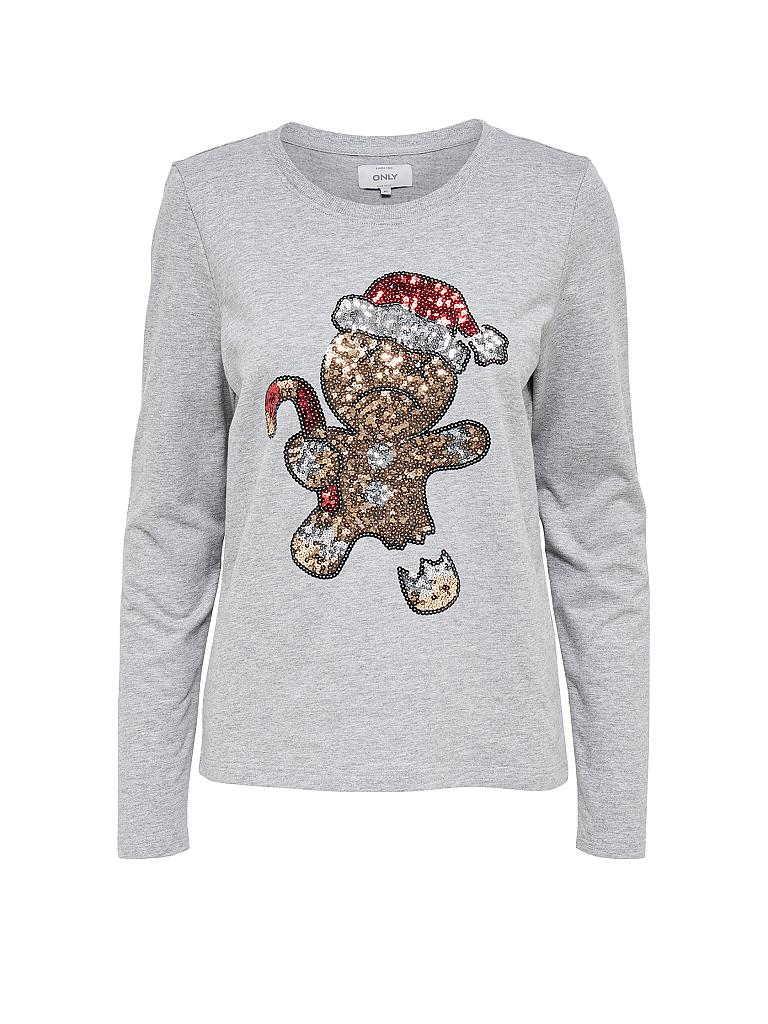 only weihnachts sweater cookie grau m