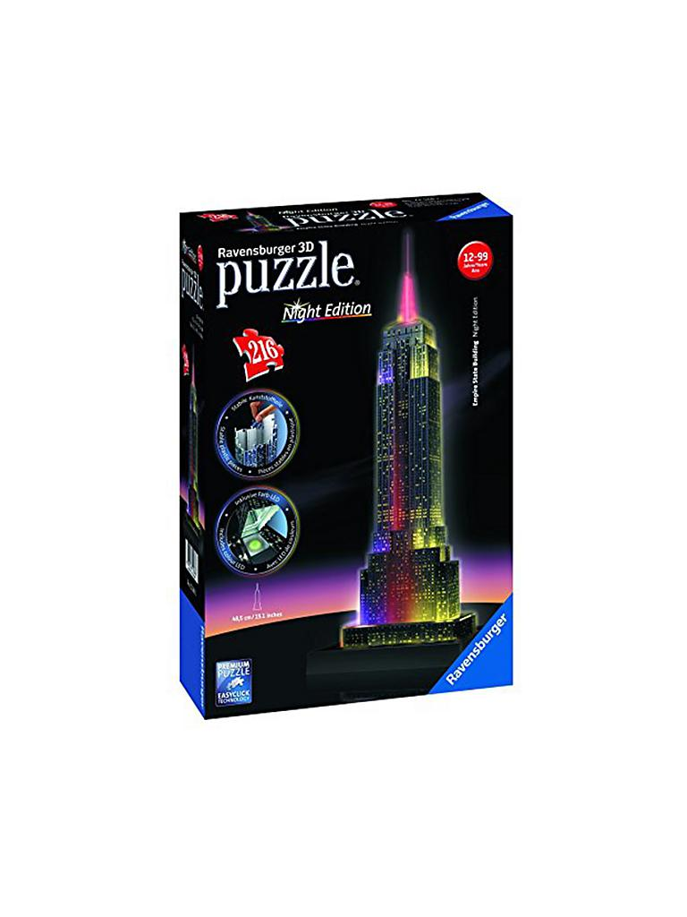 RAVENSBURGER | 3D Puzzle Empire State Building bei Nacht - Night Edition 216 Teile | transparent