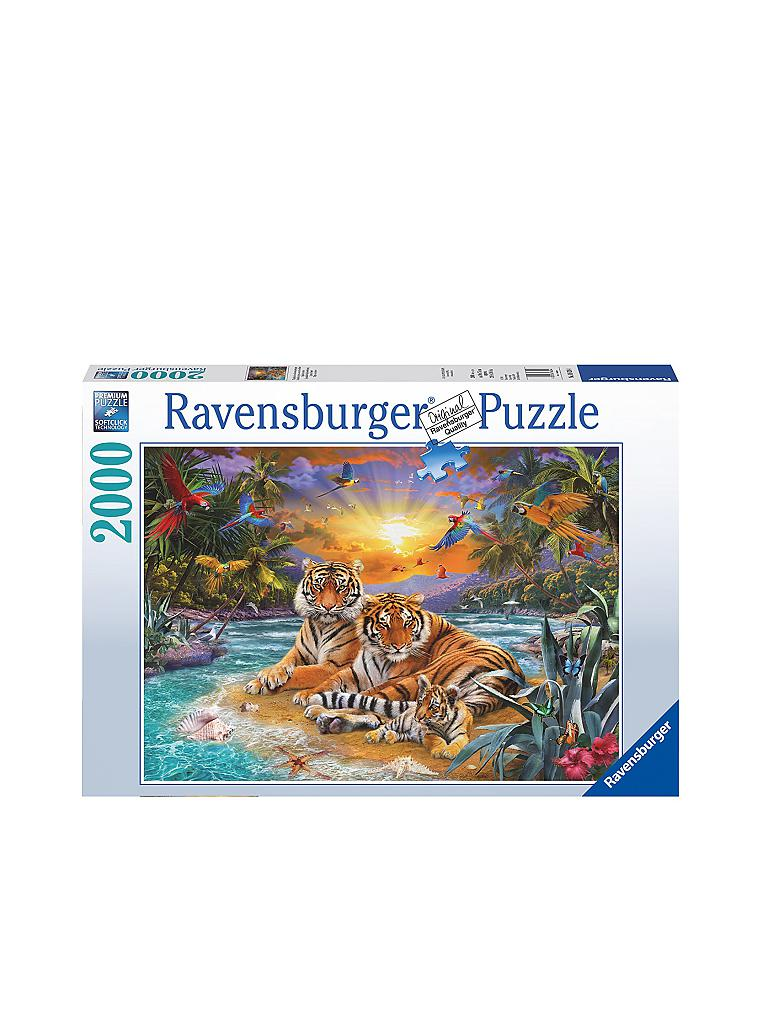 ravensburger puzzle tigerfamilie im sonnenuntergang 2000 teile transparent. Black Bedroom Furniture Sets. Home Design Ideas