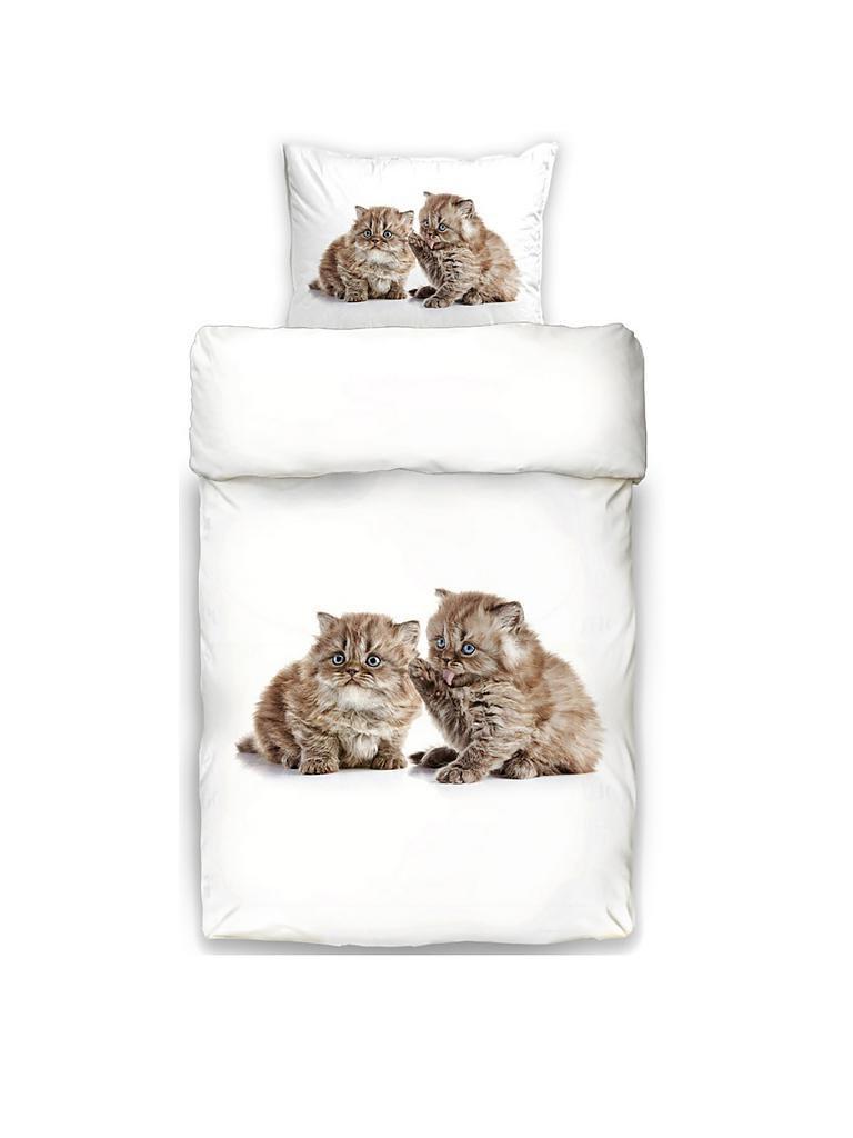 Schwanberg Bettwäsche Garnitur Animal 70x90cm140x200cm Katze Weiß