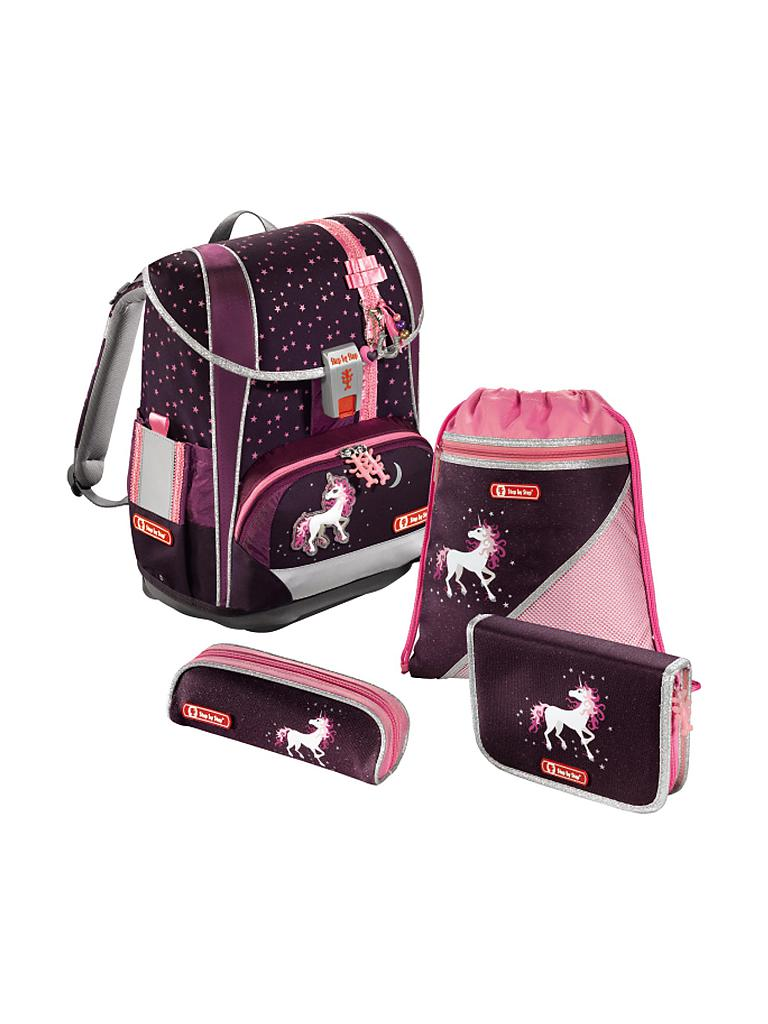 step by step comfort schulranzen set light 4 tlg unicorn lila. Black Bedroom Furniture Sets. Home Design Ideas
