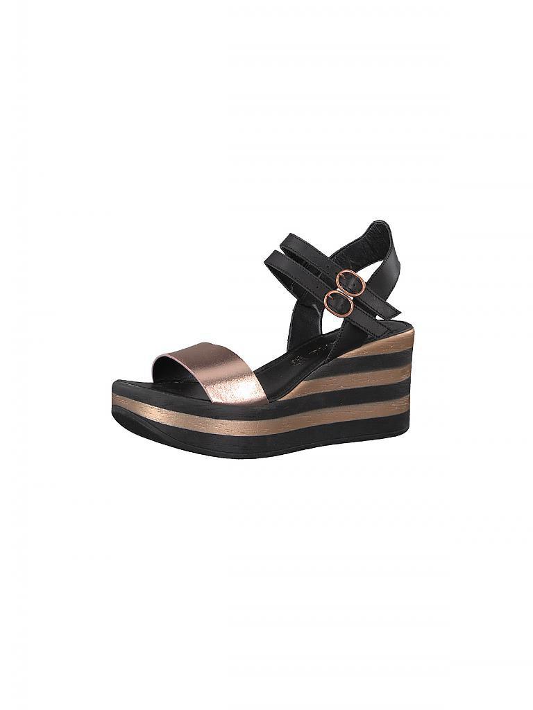 tamaris sandale mit keilabsatz schwarz 36. Black Bedroom Furniture Sets. Home Design Ideas