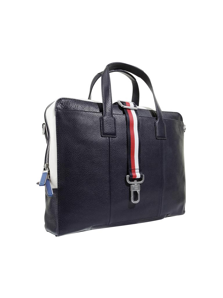 tommy hilfiger ledertasche laptoptasche blau. Black Bedroom Furniture Sets. Home Design Ideas