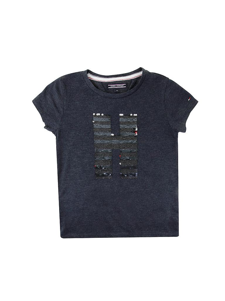 tommy hilfiger m dchen t shirt mit zauber pailletten blau. Black Bedroom Furniture Sets. Home Design Ideas