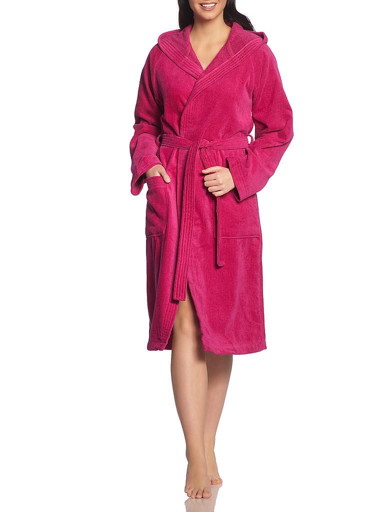 "VOSSEN | Unisex-Velours-Bademantel ""Texas"" (Cranberry) 