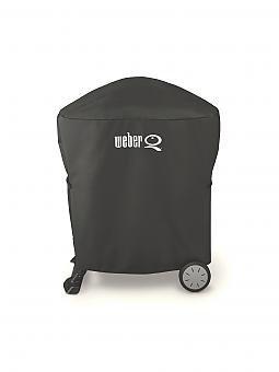weber grill abdeckhaube premium f r weber q 1000 2000 serie inkl rollwagen oder stand schwarz. Black Bedroom Furniture Sets. Home Design Ideas